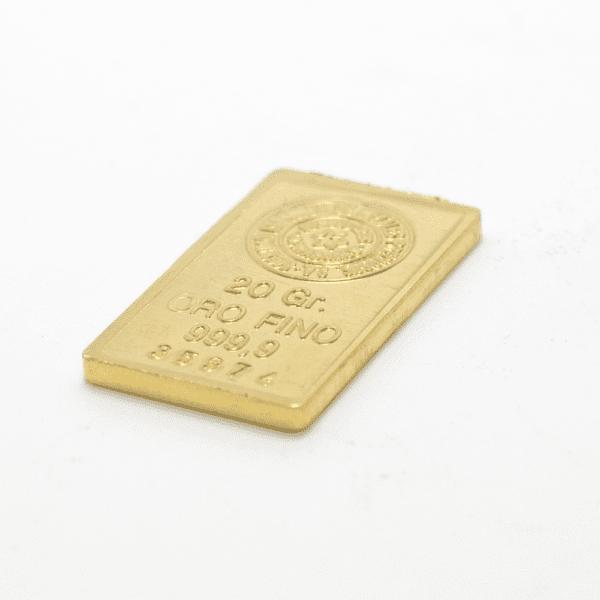 Lingote de oro 20 gramos 9999 Marca SEMPSA
