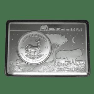 Conjunto-Moneda-1-oz-y-lingote-2-oz-Plata-Pura---50º-Aniversario-Krugerrand-Sudafricano---African-Lion-----Serie-Big-Five2