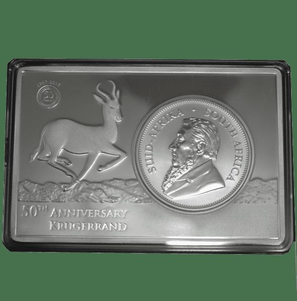Conjunto-Moneda-1-oz-y-lingote-2-oz-Plata-Pura---50º-Aniversario-Krugerrand-Sudafricano---African-Lion-----Serie-Big-Five