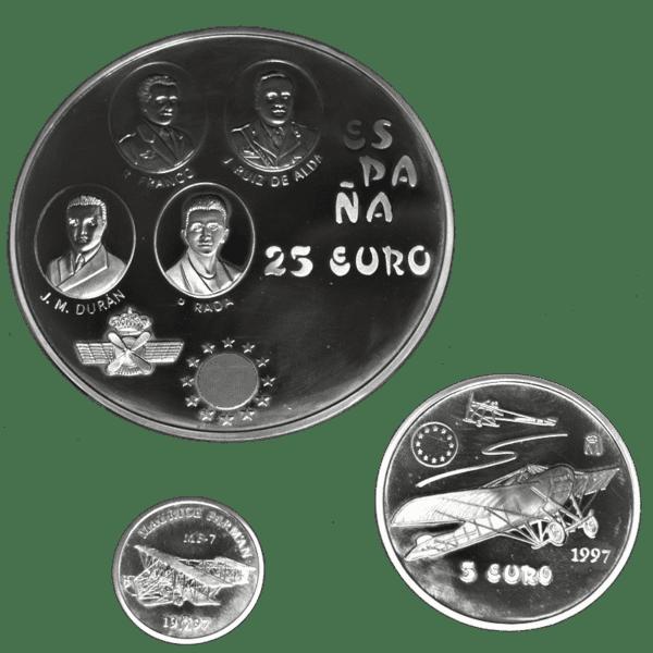 Colección Monedas EURO Serie PLATA 1 Euro / 5 Euros / 25 Euros 1997 HOMENAJE AL EJERCITO