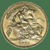 Moneda de Oro Medio Soberano 1/2 Libra Esterlina varios años.
