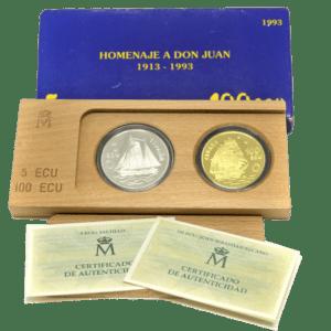 Colección Monedas Oro y Plata 5 y 100 Ecu Homenaje a Don Juan 1913-1993 Proof España