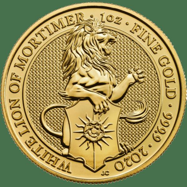 Moneda 1 Onza Oro 100 Libras Gran bretaña 2020 Series Queen's Beasts LEÓN BLANCO DE MORTIMER (White Lion of Mortimer)