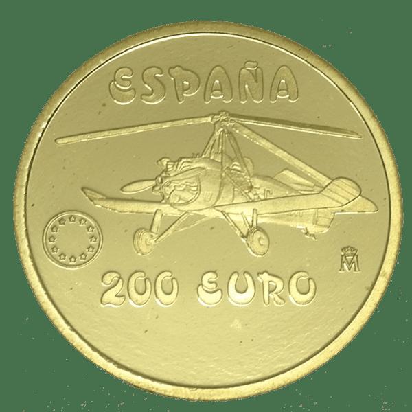 Moneda Oro 200 Euros Homenaje aviación Española -Juan de la Cierva 1997 ESPAÑA