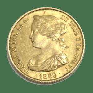 Moneda Oro 100 Reales Isabel II. Año 1861 ESPAÑA (copia)