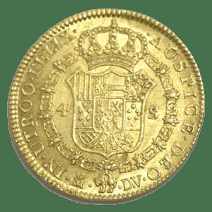 Moneda oro 4 Escudos Carlos III . Año 1787 ESPAÑA