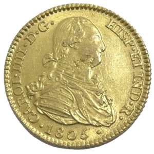 Moneda de oro de 2 Escudos carlos IIII 1805 ESPAÑA